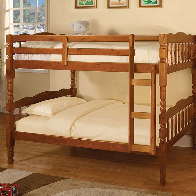 Bunk Bed Twin Over Twin Wood Art Of Furnishing Mattress