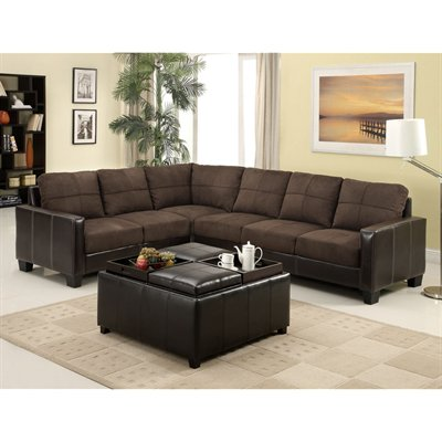 Dark Brown Microfiber Sectional Sofa