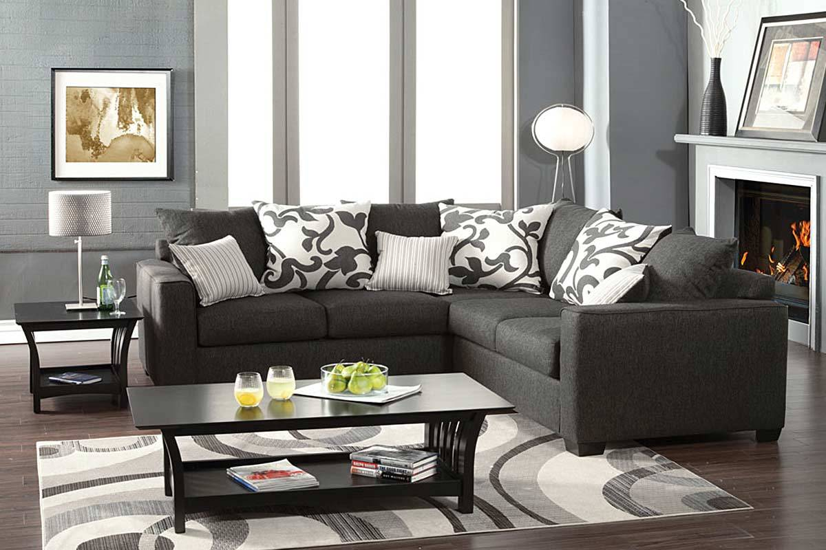 Sectional sofa gray fabric art of furnishing mattress for Grey sofa living room