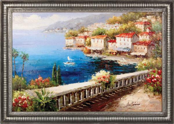 Oil Painting. Ocean Front Terrace