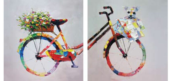 A Bike for Two Wall Art Painting - Set of 2