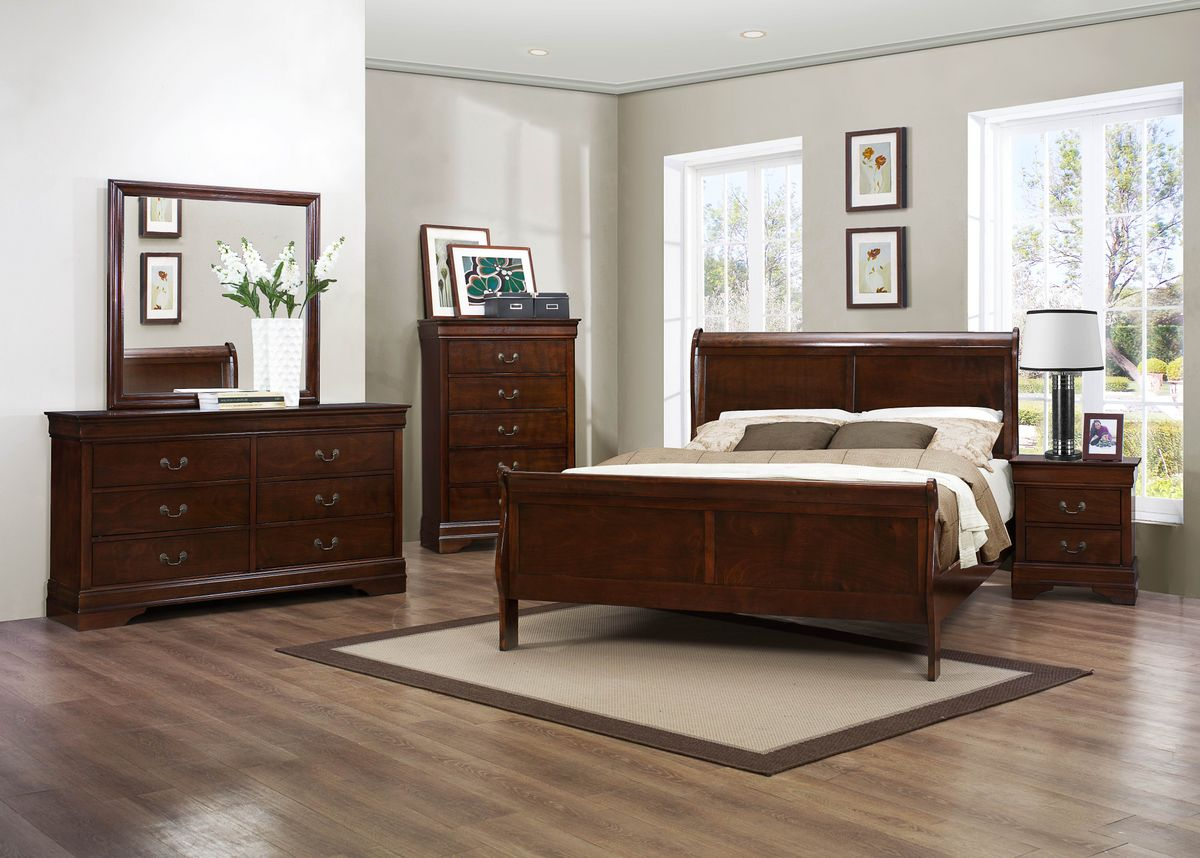 6 Piece Bedroom Set - Louis Philippe III Collection in Cherry