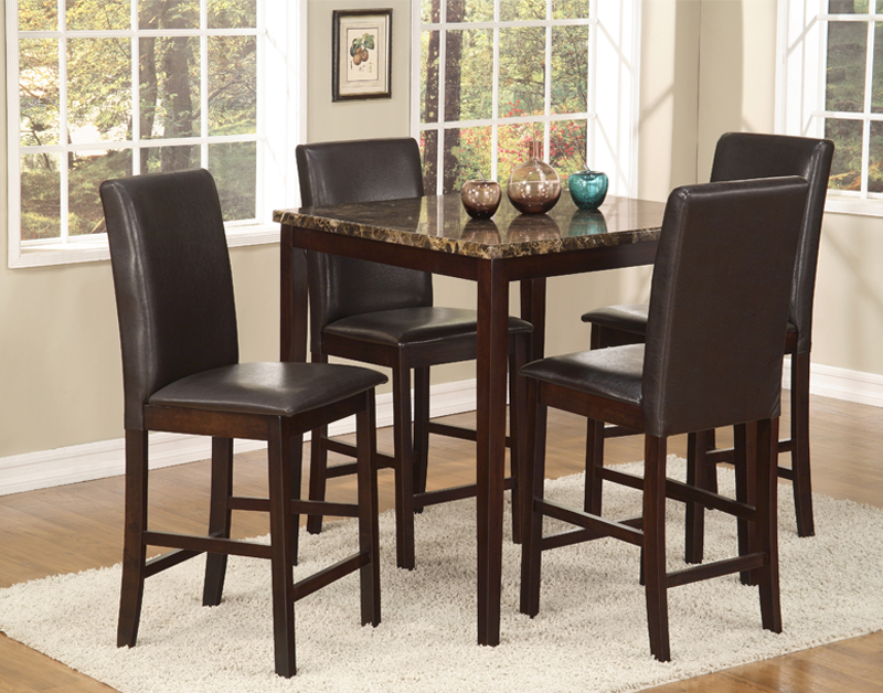 Dining Set   Black Metal, Faux Marble Table Top.