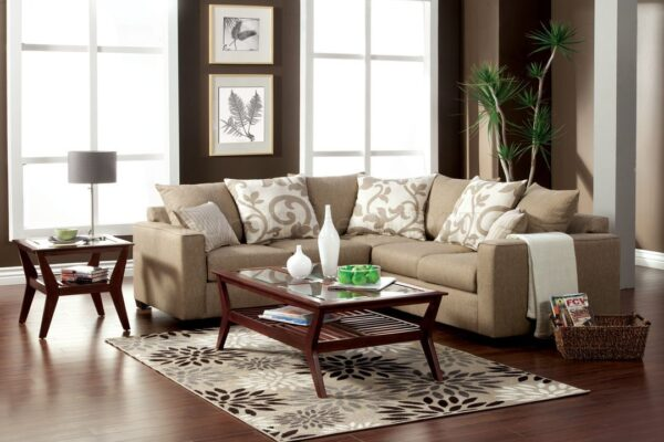 Sectional, Sandstone Fabric, with Pillows