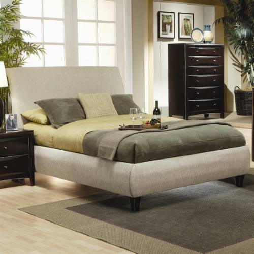 Queen Bed Frame - Contemporary Upholstered Bed in Beige