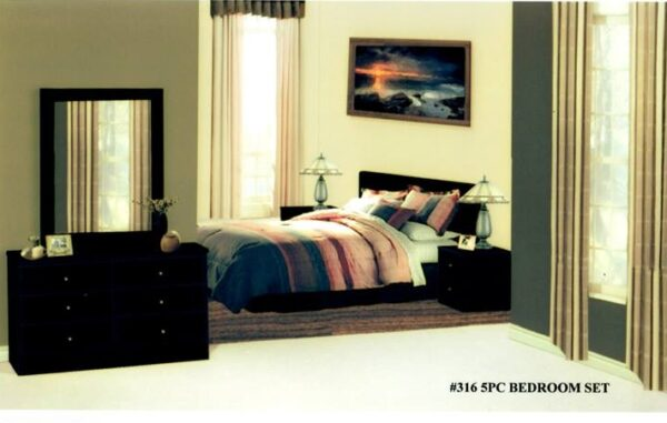 Five Piece Bedroom Set - Black