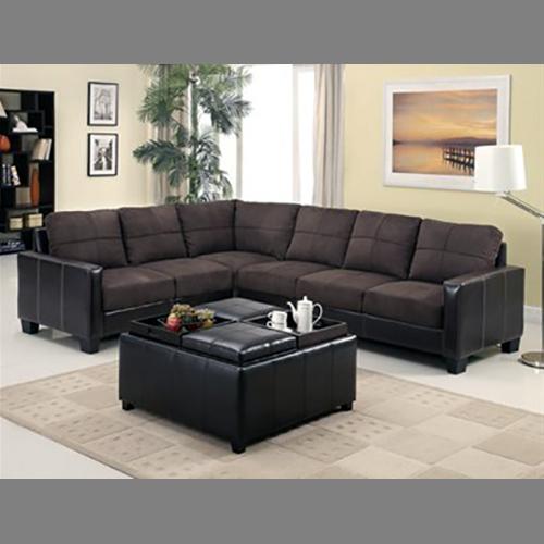 Sectional Sofa 'Lavena' - Dark Brown Microfiber
