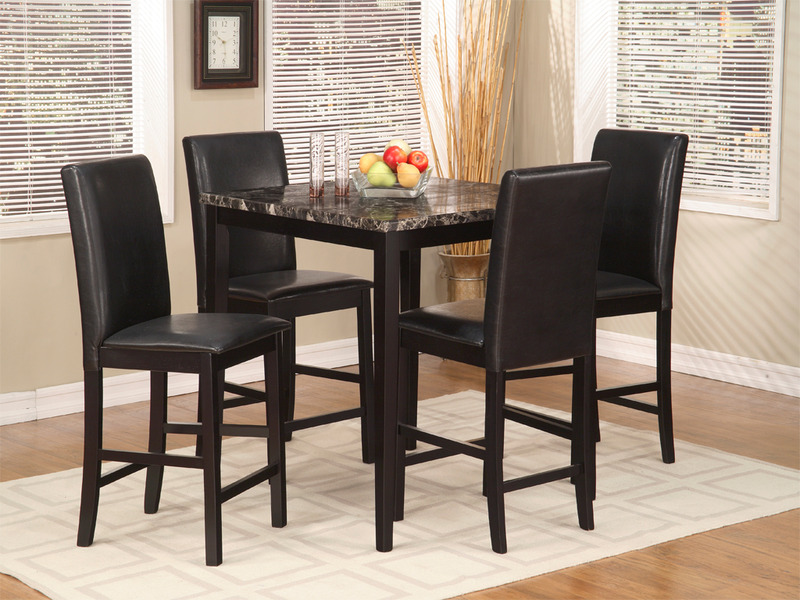 Lovely Dinette Set U2013 5 Piece Pub Set U2013 Wood With Faux Marble Top