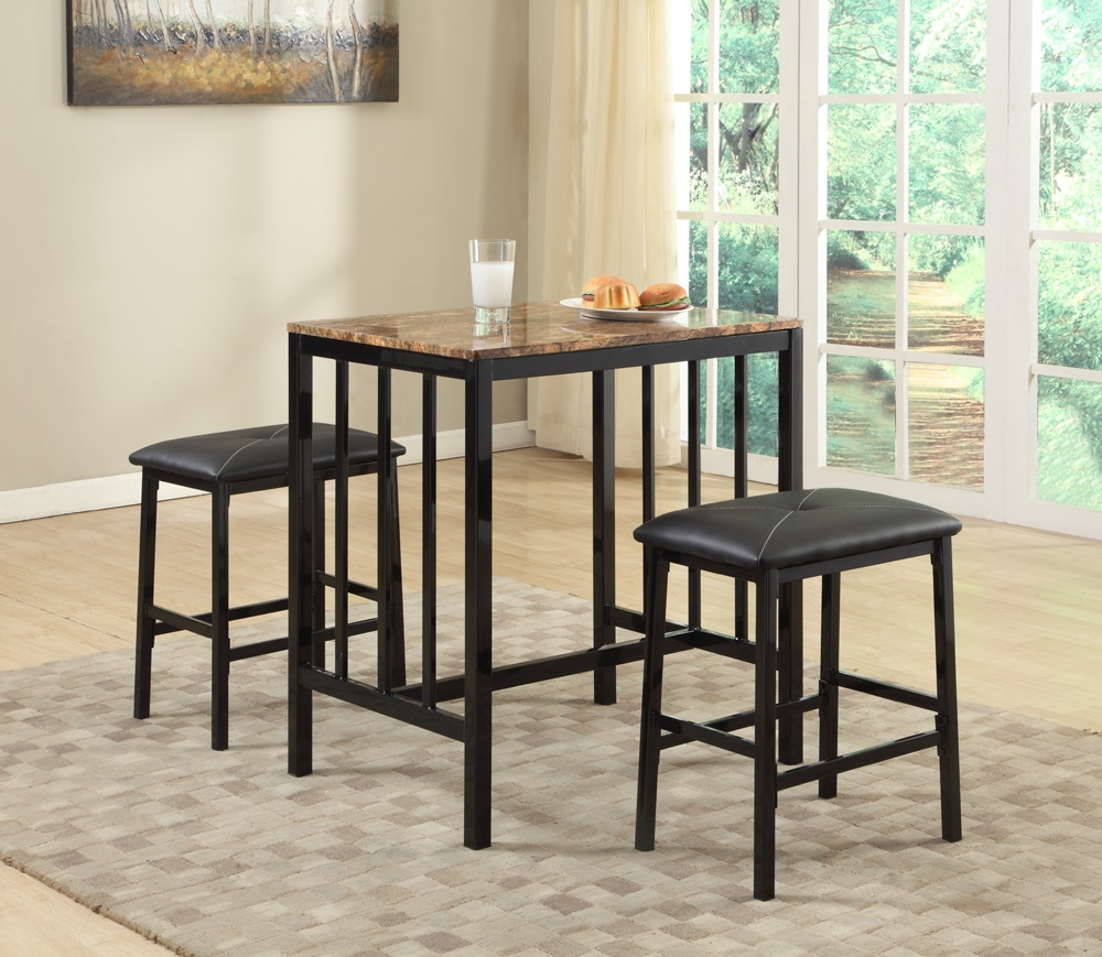 Dinette Set 3 Piece Pub With Faux Marble Top Art